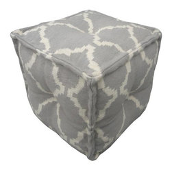 Jaipur - Jaipur Cadiz Alhambra Pouf- Pearl - Color: Pearl /NaturalConstruction: PoufsStyle: TransitionalFiber: Hand carded WoolOrigin: India
