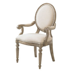 Lexington - Lexington Twilight Bay Byerly Arm Chair - The Byerly Arm Chair encourages self expression by letting you choose to mix and match the complementary finishes, or keep them all in the same family. Custom upholstered in Bridgeport, a basket-weave textured cotton in a soft ivory coloration, and accented in traditional French Laundry fashion with a pewter nail head trim, the Byerly Side Chair is a showcase of casual elegance. The classic oval back, graceful turned front legs, and gentle shaping on the seat cushion are small details that add together to make this chair a special find.