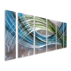 Pure Art - Color Warp Abstract Six-Piece Metal Wall Art - Lend a tranquil feel to your space with this striking metal wall art set! The Color Warp Abstract Six Piece Metal Wall Art Set features stunning blue and green color that is accentuated by a field of swirling silver for a sensational look that turns heads and gets conversations going!  This handcrafted metal wall hanging group is large enough to make a huge visual focal point in any space and is ideal for displaying in both homes or offices.  Crafted by hand using the best aluminum and other materials, this metal wall hanging is sure to be quickly counted among your favoritesMade with top grade aluminum material and handcrafted with the use of special colors, it is a very appealing piece that sticks out with its genuine glow. Easy to hang and clean.