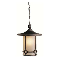 Kichler Lighting - Kichler Lighting 9827AGZ Chicago Arts and Crafts/Mission Outdoor Hanging Pendant - Kichler Lighting 9827AGZ Chicago Arts and Crafts/Mission Outdoor Hanging Pendant Light In Aged Bronze