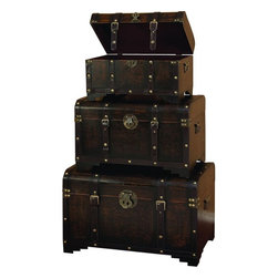 """Benzara - Wood Leather Usable Trunk - Set of 3 - Use the smaller spaces to increase the storage capacity that too with decor potential. Have a look over 39409 WOOD LEATHER TRUNK S/3. This set of three""""H utility leather trunk is covered with supple faux leather of dark brown color.; Material: Well seasoned quality wood, Varnished to make it long lasting and faux leather; Color: Antique brown; Metallic accent makes it more attractive; Unique utility decor; Special sense for space saving; Dimensions: 28, 24, 20""""W"""