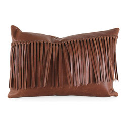 """Pfeifer Studio - Leather Fringe Pillow, 18""""x9"""" - Bring the charm of the Wild West into your interior with this handmade leather fringe pillow. It has a matching leather back, closes with a hidden garment zipper and is fitted with a medium-fill feather and down inner. Our pillows are each individually handmade-to-order using natural materials, each is considered unique and one-of-a-kind."""