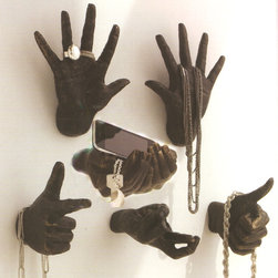 Hand Wall Sculptures - All hand wall sculptures hang on two key holes. What a unique way to store jewelry, keys, and any other items!
