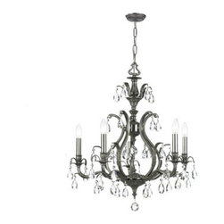 Crystorama Lighting Group - Dawson Pewter Five-Light Chandelier with Swarovski Strass Crystal - Dawson Pewter Five-Light Chandelier with Swarovski Strass Crystal Crystorama Lighting Group - 5565-PW-CL-S