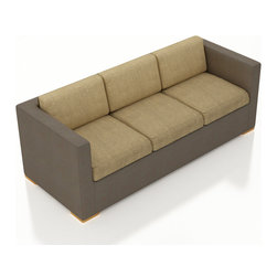 Harmonia Living - Element Modern Sling Sofa, Heather Beige Cushions - The Harmonia Living Element Outdoor Sling Modern Sofa with Tan Sunbrella cushions (SKU HL-ELS-S-HB) features clean lines, premium Textilene sling fabric and brushed aluminum feet, giving it a fantastic modern look. The sling if fast to dry and is designed with fade-resistance and UV protection. Underneath The outdoor sling is a sturdy, thick-gauged aluminum frame that is powder coated, making it incredibly corrosion resistant. The seats are reinforced to prevent excessive stretching, ensuring you and your guests can sit securely each time. This modern outdoor sofa includes seat and back cushions covered in fade- and mildew-resistant Sunbrella fabric.