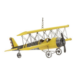ecWorld - Handcrafted Antique Die Cast Metal Bi-Plane Airplane Model Toy Replica - Yellow - Wonderfully handcrafted and hand painted metal antique toy replica Bi-plane from our Antique Toy Reproduction and Model Collection. Each collectible metal toy plane is created to look just like the original model & comes fully assembled - it's built to look aged and rough around the edges. Painted in a yellow color complemented with metal wheels and silver accents - you'll love it!