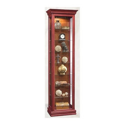 Philip Reinisch - Philip Reinisch Color Time Harmony - Contempo - Combine a simple and classic design with fabulous chili pepper red color and you get the Color Time Harmony curio cabinet by Philip Reinisch.  Enclosed storage behind the full-length glass assures you your prized possessions stay safe and dust-free.  Totally versatile, you can customize the look simply by reversing the back panel to the contrasting chestnut stain.  Finely crafted from solid hardwood with a hand-rubbed distressed finish, this sensational Curio Display Cabinet has timeless appeal. Eight shelf cabinet. Seven adjustable shelves. Lighted (U.L. & C.S.A Approved). Reversible back: chili pepper red board and pattern on one side, chestnut finish on the other. Hand-rubbed and distressed. Made from Solid Northern Hardwood. Right-side hinge open door. 20 in. W x 13 in. L x 71 in. H (50 lbs.)