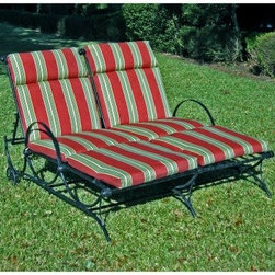 Blazing Needles Outdoor 48 x 72 in. Double Chaise Lounge Cushion - Set of 2 - Add comfort and summertime style to your chaise lounges with the Blazing Needles Outdoor Double Chaise Lounge Cushion - Set of 2. This set features a cover made of durable fade and water resistant fabric in a festive striped pattern. A Dacron fill adds a soft cushion to your lounging space. Use together for a double wide version or separately for single chaise chairs. Color options let you match your outdoor setting.About Blazing NeedlesBlazing Needles L.P. specializes in the manufacture of cushions, pillows, and futons. As a sister company of International Caravan, Inc., Blazing Needles provides a wide variety of cushions to fit the frames and furniture pieces made by International Caravan. In particular, Blazing Needles' production of papasan cushions occupies a unique niche within their industry and sets them apart as a prime supplier for certain retailers. Other services they provide include contract filling, sewing, and import sourcing. The headquarters of International Caravan and Blazing Needles is located in Fort Worth, Texas.