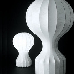 "Flos - Flos | Gatto Table Lamp - Design by Achille and Pier Giacomo Castiglioni, 1960.By FLOS.The Gatto table lamps provide diffused light. A white powder coated internal steel structure sprayed with a unique ""cocoon"" resin to create the diffuser which is then protected by a transparent sprayed on finish. Available in two sizes."