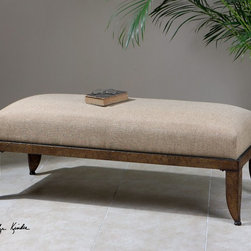 """Uttermost - Lanrada Upholstered Bench - Deeply Cushioned, Natural Linen Seat On Hammered Metal In Varied Tones Of Copper, Bronze, And Antiqued Gold. Uttermost's Benches Combine Premium Quality Materials With Unique High-style Design. Bulbs included?: NO; Overall Dimensions: 20.5""""D x 54.5""""W x 19""""H"""