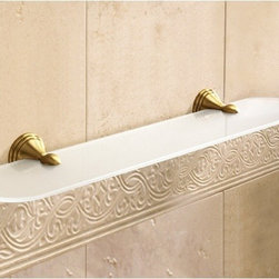 Gedy - Frosted Glass Bathroom Shelf With Bronze Holder - Decorative, vintage style 24 inch glass shelf with rounded edges. Made in brass with bronze finish. 24 inch wall mounted shelf. Made of satinized glass with bronze finished brass holder. From Gedy Romance Collection.