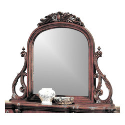 Yuan Tai - Savannah Beveled Mirror in Dark Cherry Finish - Intricate resin carvings. 3 in. frame thickness. Warranty: Six months limited. Made from solid hardwood and wood veneers. 62 in. W x 53 in. H (61.60 lbs.)