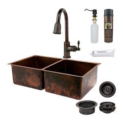 "Premier Copper Products - 33"" Copper Kitchen 50/50 Sink w/ ORB Faucet - PACKAGE INCLUDES:"