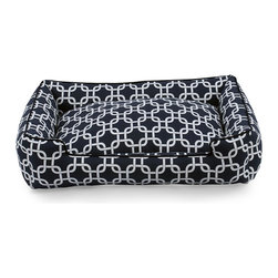 Marine Pet Lounge - 39x32 - An attractive everyday pillow with high walls perfect for curling up, the Marine Pet Lounge gives animals a sense of security while contributing a dramatic lattice design and a navy nautical feel to your home decor.  Made with a lightweight, machine-washable cotton cover, this appealingly casual pet bed has piped edges to maintain the shape of its padded walls.