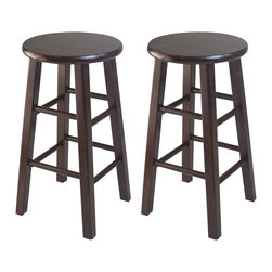 """Winsome - Winsome 24"""" Counter Stool Square Leg in Antique Walnut (Set of 2) - Winsome - Bar Stools - 94264"""