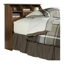 Sauder - Sauder Shoal Creek Twin Bookcase Headboard in Oiled Oak - Sauder - Headboards - 411904 - This Sauder bookcase headboard is designed to attach to a twin size bed. The spacious display area on the bookcase is designed for an alarm clock and books. This bookcase headboard also features two adjustable shelves and hidden storage behind a flip-up drawer front. The enclosed back panel has cord access.