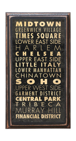"""CrestField - New York Points of Interest v1 Decorative Vintage Style Wall Plaque / Sign - This vintage style wall plaque is hand made to commemorate the wonderful city of New York. The pine board has a quarter round routed edge and is sized at 7.25"""" x 13"""" x .75"""". The surface is finished with my """"flatter than satin"""" poly finish with a saw tooth hanger on the back. Would look great in any decoration project, home or office."""