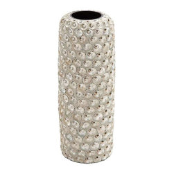 "Benzara - Durable Material Ceramic Intricate Design Seashell Vase - Durable Material Ceramic Intricate Design Seashell Vase. An elegant coastal accessory for any modern home decor, this is especially complimented by bright flowers, roses and orchids. It comes with the following dimensions 7""W x 7""D x 19""H. Some assembly may be required."
