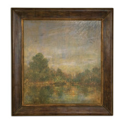 Uttermost - Eve's Lake Framed Art - If you're still holding on to the posters you bought when you went to the lake, it's time to do the right thing and replace them with an oil on canvas reproduction. The hand-applied finish shows brushstrokes and the frame (it's framed!) has a distressed, lightly antiqued feeling. You're moving on up!