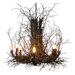 Wish Designs - Appalachian Branch Chandelier - Add stunning organic illumination to your entryway or dining space with Indeed Decor's Appalachian Branch Chandelier. Finely-crafted of natural hickory branches & twigs, by award winning Deanna Wish Designs, this chandelier will be an eye-catching focal point for your rustic lodge, eclectic farmhouse or contemporary beach house. Please expect slight variations in texture and size as each chandelier is hand-crafted and a unique piece of art.