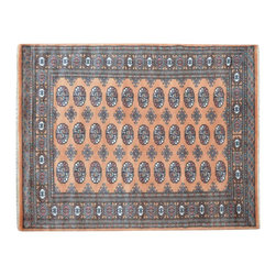 100% Wool Hand Knotted Bokara Orange Tribal Design 4' x 6' Oriental Rug SH15555 - This collections consists of well known classical southwestern designs like Kazaks, Serapis, Herizs, Mamluks, Kilims, and Bokaras. These tribal motifs are very popular down in the South and especially out west.