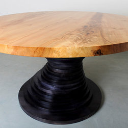 Round Maple Dining Table Black Base, Natural Top - Baldwin Custom Woodworking