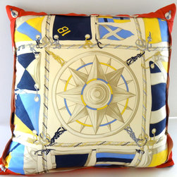 """Petra&Jules Embellished Wear Nautical Pillows - Nautical silk fabric with jet blue faux suede backside is 22"""" square with a  zipper closure. Pillow Form included."""