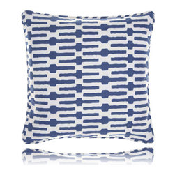 Pine Cone Hill - links indigo pillow (18x18) - Exciting horizontal stripes make this pillow a fun and modern accent. Includes zipper cosure and feather insert.��This item comes in��indigo.��This item size is��18w 18h.