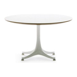 Nelson Pedestal Coffee Table by Herman Miller - Originally designed in 1954 as a side table, George Nelson's pedestal table also comes in coffee table form. There are several finishes and combinations available, but we like a wood top with a contrasting white base the best!