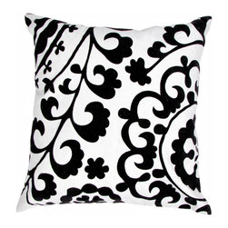 Unknown - Contemporary Cotton Grey/ Ivory Square Pillows (Set of 2) - These fun,funky pillows take inspiration from Suzani patterns which have been rescaled and updated. These cotton pillows mix light ivory and dark grey for a high-contrast style.
