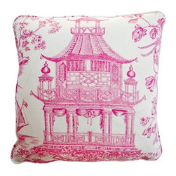 Luxury Pink Pagoda Pillow - A beautiful pink pagoda pillow would really pop on a black or navy sofa or chair.