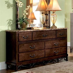 Standard Furniture - Santa Cruz 7 Drawer Dresser - Surfaces clean easily with a soft cloth. Allows generous storage space. Wood products with simulated wood grain laminates. Group may contain some plastic parts. French dovetail. Roller side drawer guides. Top drawers are felt lined to protect delicate items. 61 in. L x 16 in. W x 34 in. H