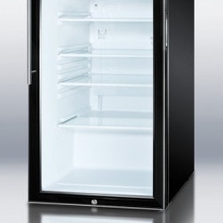 """Summit - SCR500BL7HV 20"""" 4.1 cu. ft. Capacity Commercially Listed Glass Door Refrigerator - SUMMIT SCR500BL7 commercial series features auto defrost glass door refrigerators designed for freestanding use in any 20 space"""
