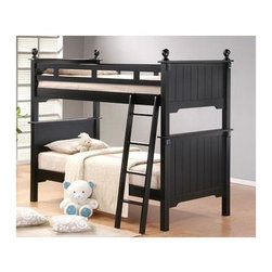 Homelegance - Pottery Twin Over Twin Bunk Bed - NOTE: ivgStores DOES NOT offer assembly on loft beds or bunk beds. 81.5 in. L x 44.5 in. W x 72 in. H. Bunk Bed Warning. Please read before purchase.