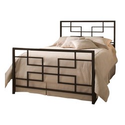 Hillsdale Furniture - Hillsdale Terrace Panel Bed - King - Angular and contemporary, the Terrace bed combines multi level 90 degree angles with a squared headboard and footboard silhouette to create a fresh, interesting and modern effect. Finished in a textured black and constructed of heavy gauge, fully welded metal, this bed is both sturdy and fashion forward.