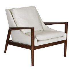 Worlds Away - Worlds Away Square Back Beech Wood Chair TROY CR - Square back beech wood chair with cream pu leather upholstery
