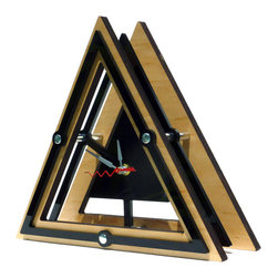 EllingWoods Design - Modern Geometric Triangle Desk Clock - Wood, Wood - Inspired by geometry these modern clocks balance the line between form and function and create a striking element to any home or office.
