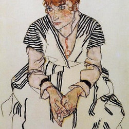 "Schiele The Artist's Sister-in-Law in a Striped Dress, Seated Print - 16"" x 24"" Egon Schiele The Artist's Sister-in-Law in a Striped Dress, Seated premium archival print reproduced to meet museum quality standards. Our museum quality archival prints are produced using high-precision print technology for a more accurate reproduction printed on high quality, heavyweight matte presentation paper with fade-resistant, archival inks. Our progressive business model allows us to offer works of art to you at the best wholesale pricing, significantly less than art gallery prices, affordable to all. This line of artwork is produced with extra white border space (if you choose to have it framed, for your framer to work with to frame properly or utilize a larger mat and/or frame).  We present a comprehensive collection of exceptional art reproductions byEgon Schiele."
