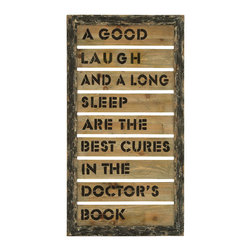 Benzara - Wall Decor With Inspirational Humor And Laughter Message - A wonderful piece of decor to remind us of the main ingredient we need to be happy. The text features an inspirational message of laughing and loving to laugh that you and your guests can all identify with and enjoy. This piece of wall decor is perfectly made to be hung in the family room or the home office.