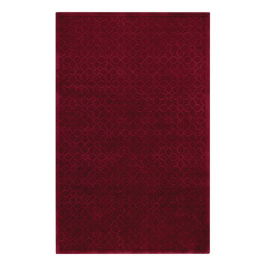 First Impressions rug in Merlot - Treasured antique wood block designs faithfully reproduced through hand carving make this lush, 100% wool pile rug collection an impressive offering for any home.