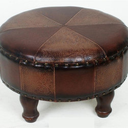 International Caravan - Round Stool w Patterned Faux Leather and Wood - In Mix Brown. Made of faux leather. 24.5 in. L x in. W x 15 in. H