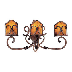 """Metropolitan - Metropolitan N20535 Wrought Iron Three Light 30.5"""" Wide  Bath Fixture from the G - Wrought Iron Three Light 30.5"""" Wide  Bath Fixture from the Gran Canaria CollectionSince 1939, the Metropolitan� Lighting Fixture Co. has been proudly illuminating the finest interiors with antique reproduction lighting fixtures made from alabaster, brass, bronze, iron, wood and mouth blown Murano glass.  Although Metropolitan looks forward to the future with great anticipation, they are ever mindful of their heritage in the past.Features:"""