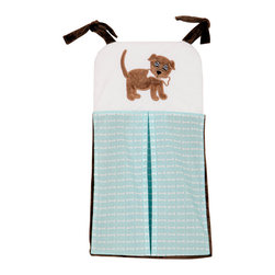 "Puppy Pal Boy - Diaper Stacker - Let the Puppy out to play with ""One Grace Place"" Puppy Pal Boy accessories.   All baby rooms need a diaper stacker!  Diaper stacker is a combination of our signature ""Give the Dog a Bone"" fabric in blue with solid chocolate cotton fabric.  ""Puppy Pal"" is appliqu�d on the front to make this a fun accessory for any room!"
