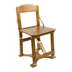 Spiderlegs - Folding Chair (Golden Oak) - Finish: Golden Oak. The chair is designed to accommodate one adult, with a recommended load limit of 250 lbs.. The chair double folds for easy storage and has its own built in handle for easy transportation. Made in USA. Folded: 18 in. x 21 in. x 4 in.. Unfolded: 18 in. L x 18 in. W x 31 in. H (12 lbs)Spiderlegs® hand crafted portable wooden folding chairs, with a patent pending folding design and patented locking hardware. Crafted from Baltic Birch ply. The locking hinges prevent each chair from unintentionally folding when opened. Hinge locks may be easily released by pressing the solid brass lock buttons between the thumb and a finger. Each chair may be made for indoors or temporary outdoors use, and is built comfortable dining chair height. Designed to match Spiderlegs® folding tables. The folded chair be store under a bed, in a closet, car trunk, RV bins, etc. Clean with a damp cloth. Renew wood surfaces with wood care products. US Patent numbers 6,779,466 and 7,337,728. The chair includes a full one year warranty.