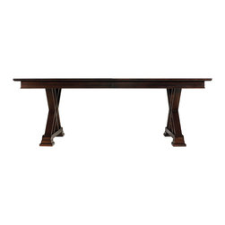 "Stanley Furniture - Continuum Double Pedestal Table - The grand scale of the Double Pedestal Table attracts attention with its roominess for multiple seating. Its flanking X-shaped pedestals demonstrate the craftsmanship with which it was made. Two 20"" leaves included. Overall dimensions with leaves: 126"" W X 46"" D X 30"" H Bottom of apron to floor: 25 5/8"" H Made to order in America."