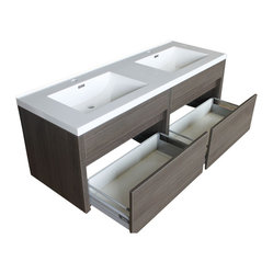 "JWH Imports - 59.5"" Kiruma Wall Mounted Double Sink Vanity with Acrylic Top - Go au naturel and up-to-the-minute modern in your personal space. This gray wood-grained double vanity sink is sleek, stylish and spa-like — ideal design components of the sumptuous yet unfussy bath."