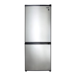 """Danby - 9.2 Cu.Ft. Bottom Mount Refrigerator-Black - Danby's bottom mount refrigerator is compact and feature loaded. Boasting the coveted Energy Star® designation, spill proof glass shelves, 2 clear vegetable crispers, and a freezer storage basket, this model is sure to fit all your needs. At just under 60 inches tall and less than 24 inches wide, the compact design of the DFF261BSLDB is ideal for apartments, condos or as a secondary refrigerator. 9.2 cu. ft. (261 litre) capacity Bottom Mount Refrigerator, Energy Star® compliant, Spotless steel finish - looks identical to real stainless steel but without the smudging, Frost free operation, provides hassle free maintenance and improved food preservation, Recessed pocket style handle, Canstor® beverage dispenser, Dual vegetable crispers with glass cover, 2 adjustable glass shelves for maximum storage versatility, 3 integrated door shelves, Bottom storage basket, Interior LED light illuminates without the heat of an incandescent bulb, Reversible hinge for left or right hand opening, Unit dimensions 23 13/16"""" W x 26 12/16"""" D x 59 13/16"""" H"""