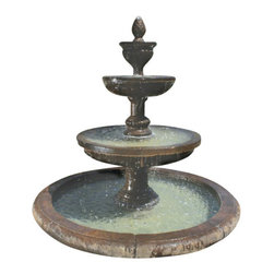 Mediterranean Fountain with Old Euro Basin, Country Oak - Need to create an outside scenery that will amuse everyone? The attention grabbing Mediterranean Fountain with Old Euro Basin is a classical piece that will spruce up any garden or outdoor setting. It has all the elements of beauty which your friends and family will appreciate for a lifetime.