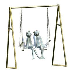 "SPI - Frogs on Porch Swing Garden Sculpture - -Size: 27.5"" H x 25"" W x 17.5"" D"