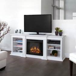 "Real Flame - Fresno Electric Fireplace in White - 1400 Watt heater, rated over 4700 BTUs per hour. Programmable thermostat with display in Fahrenheit or Celsius. Ultra Bright LED technology with 5 brightness settings. Digital readout display with up to 9 hours timed shut off. Dynamic ember effect. Fireplace includes wooden mantel, firebox, screen, and remote control.. Solid wood and veneered MDF construction. Fits up to a 50"" diagonal TV - 100lb. weight limit.. Shelf dimensions: 17"" x 14.5"". 71.73 in. W x 19 in. D x 29.88 in. H (170 lbs.)Enjoy the beauty of a Real Flame Electric fireplace, this substantialfreestanding fireplace also doubles as an entertainment center. This unit is able to hold a television of 100 lbs. or less and has adjustable shelving toaccommodate most electronics. The Vivid Flame Electric Firebox plugs into any standard outlet for convenient set up. The features include remote control, programmable thermostat, timer function, brightness settings and ultra bright Vivid Flame LED technology."